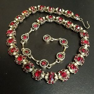 Hollycraft 1953 Red Rhinestone and Pearl Necklace